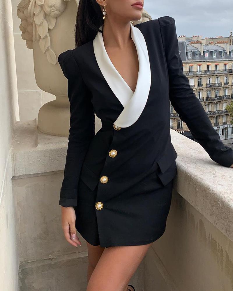 boutiquefeel / Vestido estilo blazer de manga abullonada con diseño de botones en bloques de color