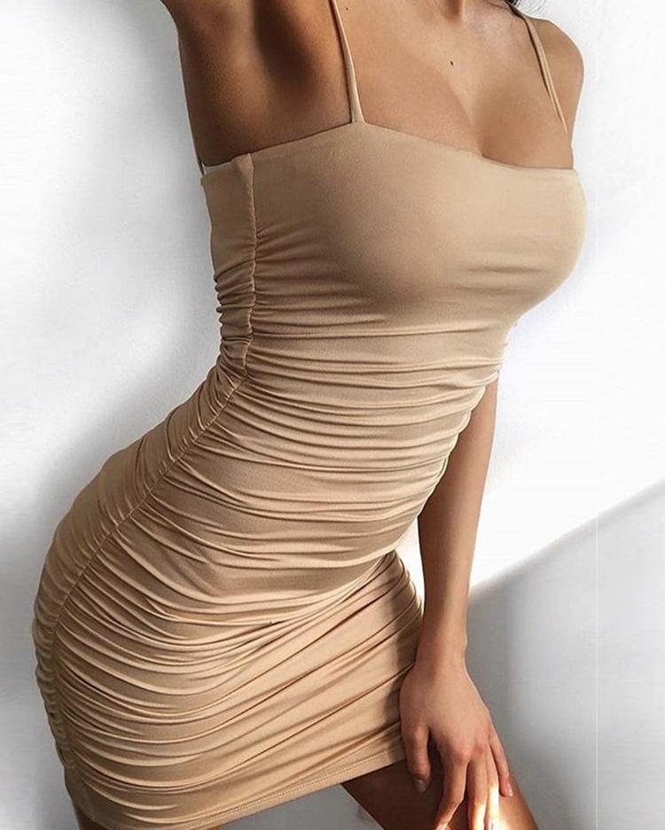 ivrose / Correa espagueti arrugada mini vestido bodycon