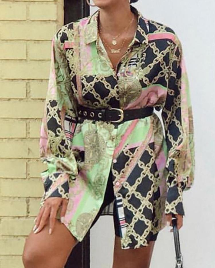 chicme / Vestido de camisa con botones y botones metalizados