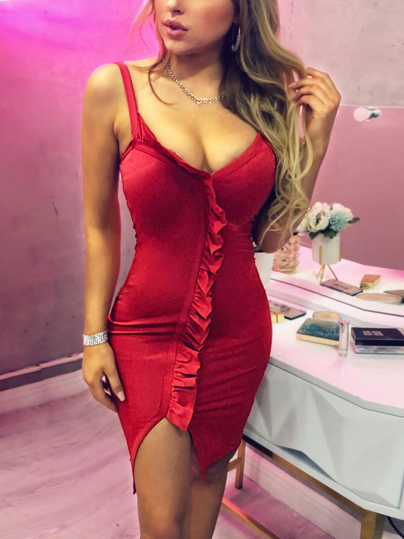 Spaghetti Stap Ruffles Design Slit Dress, Red