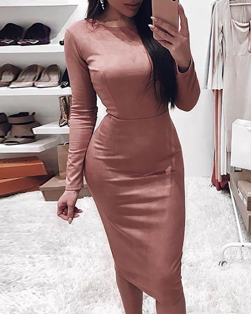boutiquefeel / Vestido ajustado de manga larga sólido