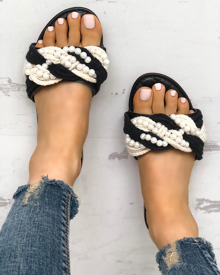 Shiny Embellished Single Strap Flat Sandals фото