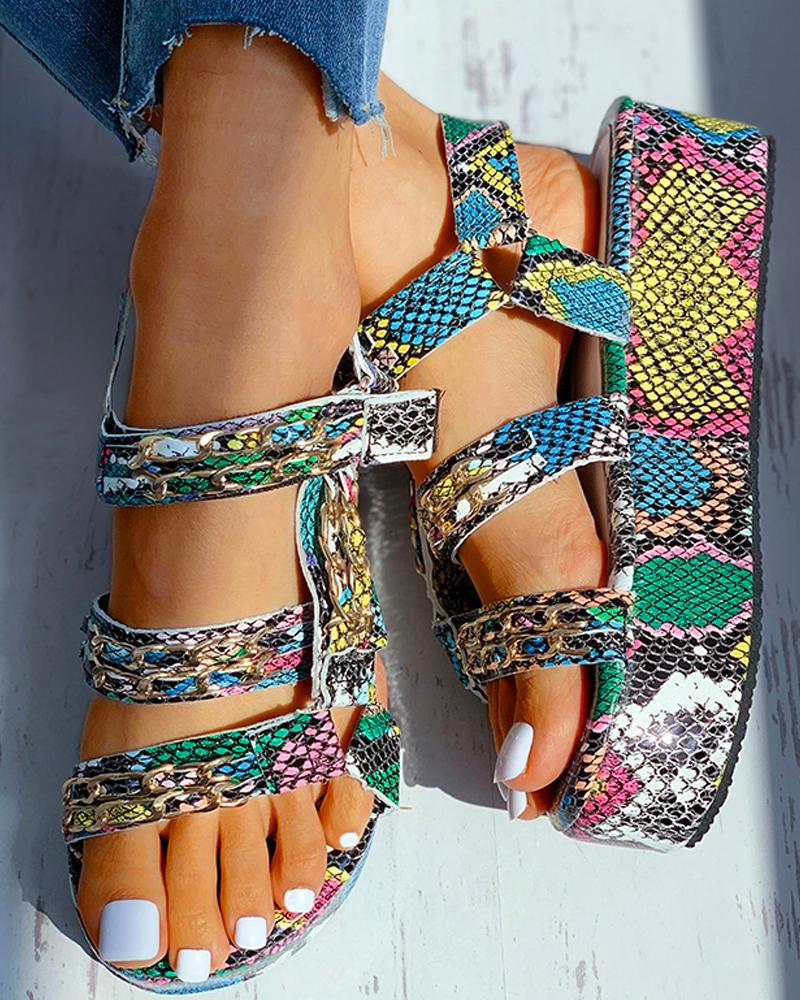 Snakeskin Pattern Velcro Platform Sandals фото
