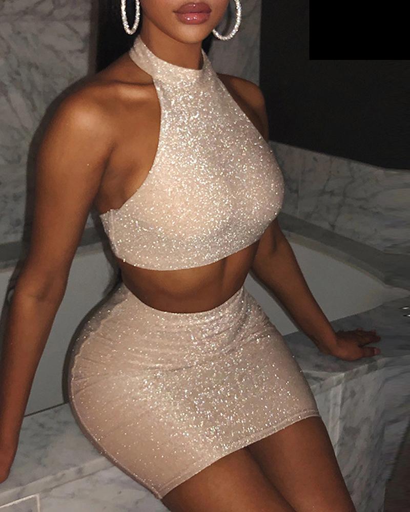 Halter Top & Mini Bodycon Skirt Set фото