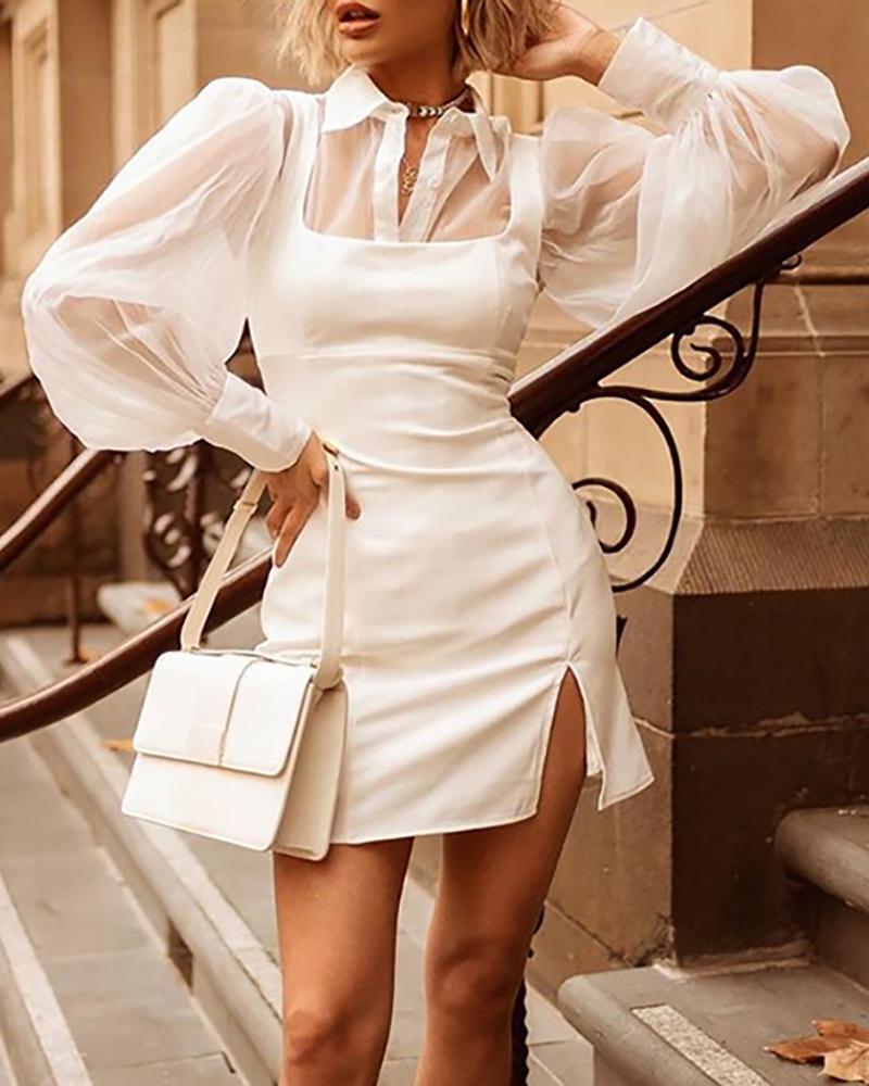 ivrose / Vestido de rejilla de manga transparente con malla