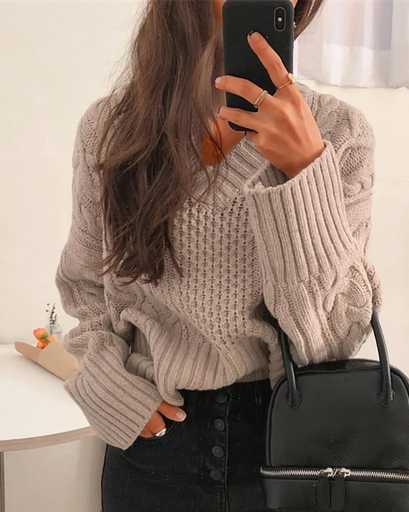 Solid Braided Knit Casual Sweater фото