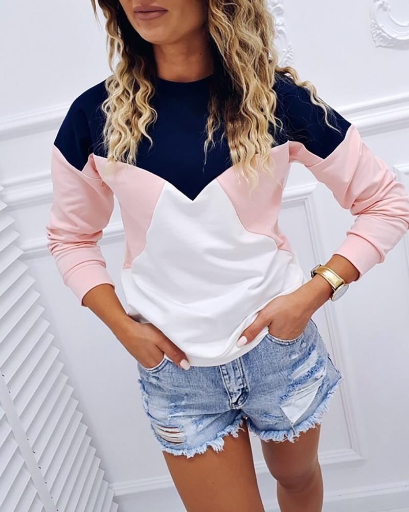 Colorblock Insert Long Sleeve Casual Blouse фото