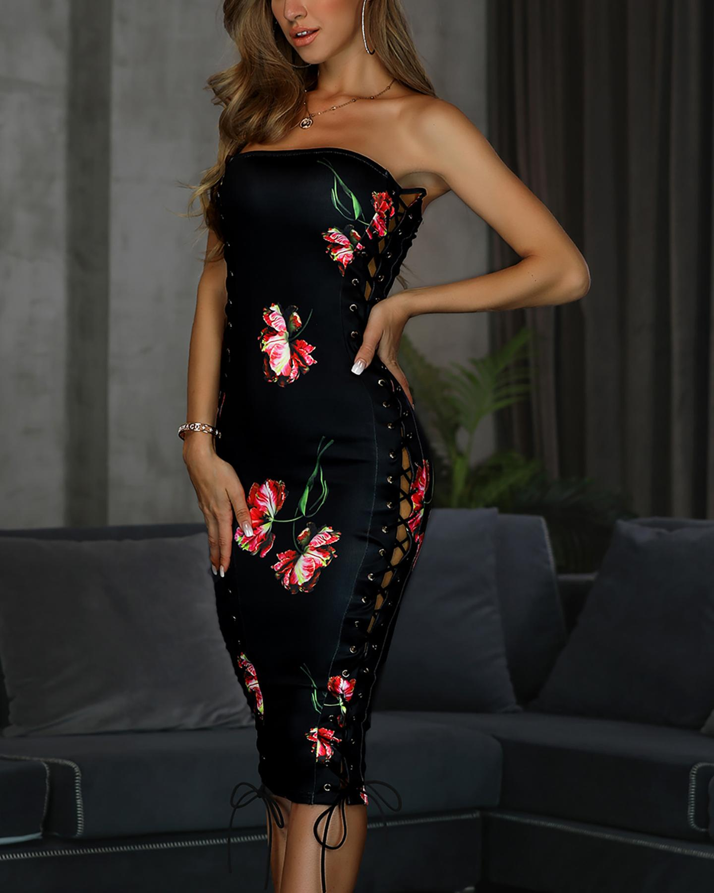 Side Lace-Up Floral Print Tube Dress
