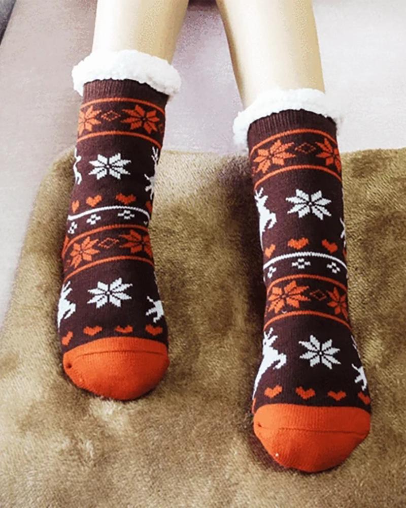 ivrose / Christmas Thermal Fleece Slipper Socks