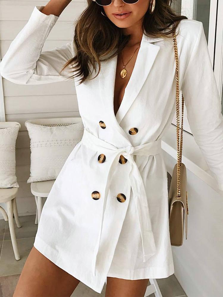 joyshoetique / Solid Double Breasted Belted Blazer Dress