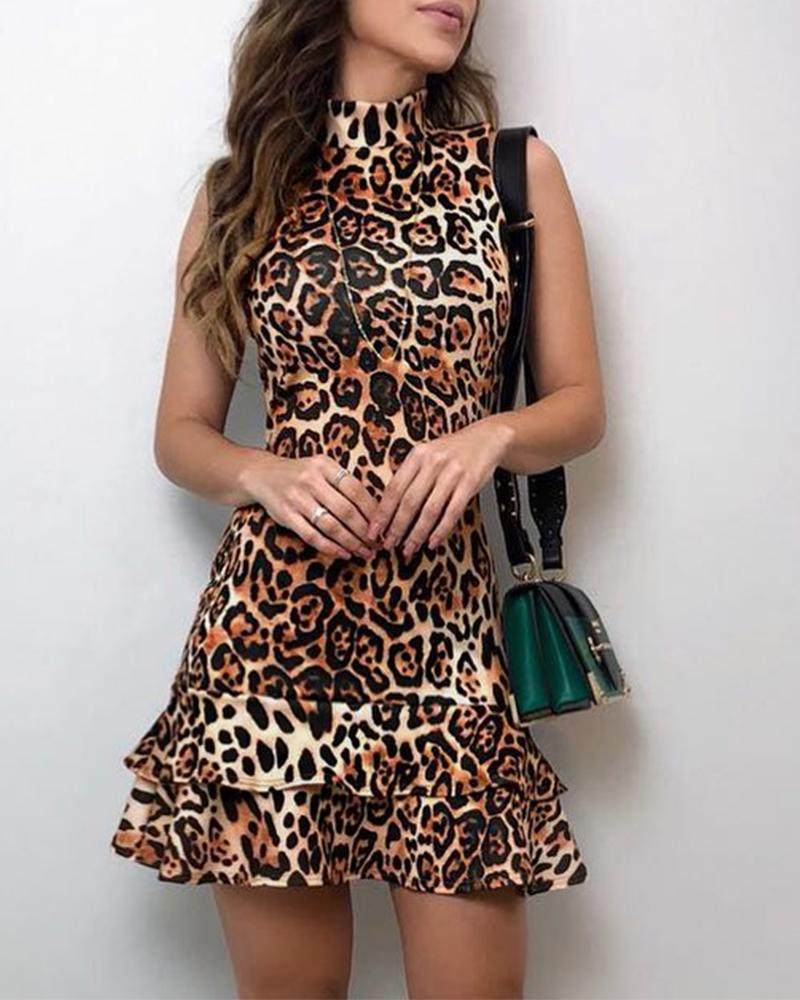 Leopard Print Ruffles Hem Dress
