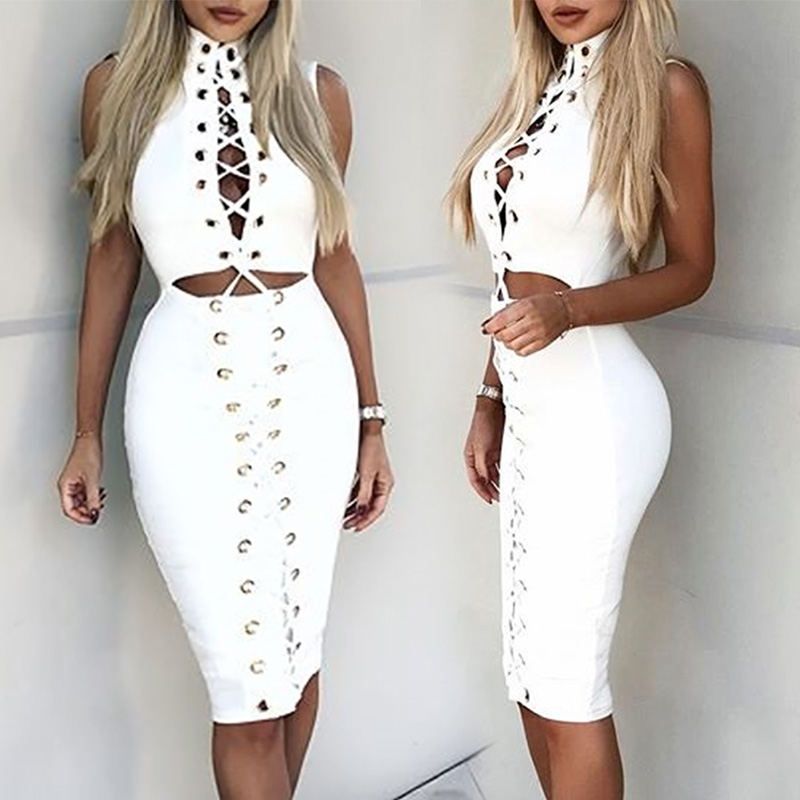 Alluring Eyelet Lace-up Cutout Bodycon Dress