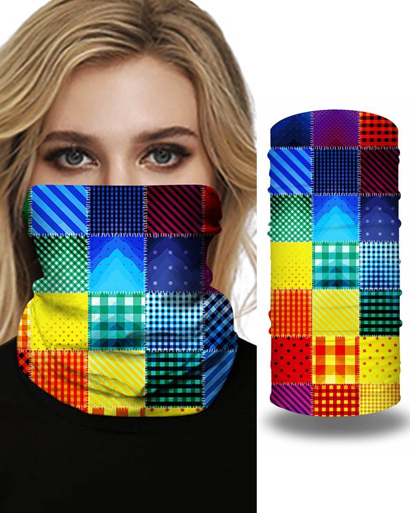 Tie Dye Grid Print Colorblock Face Bandana Magic Scarf Headwrap Balaclava, Style1