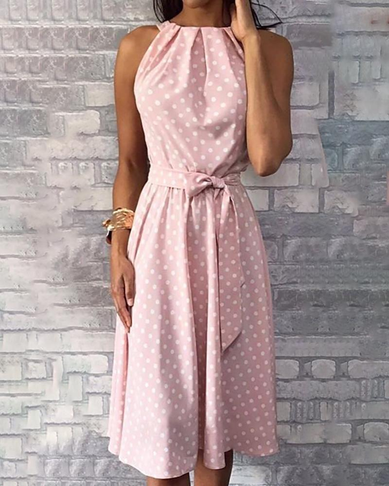 boutiquefeel / Bolinhas Imprimir Ruched Casual Dress