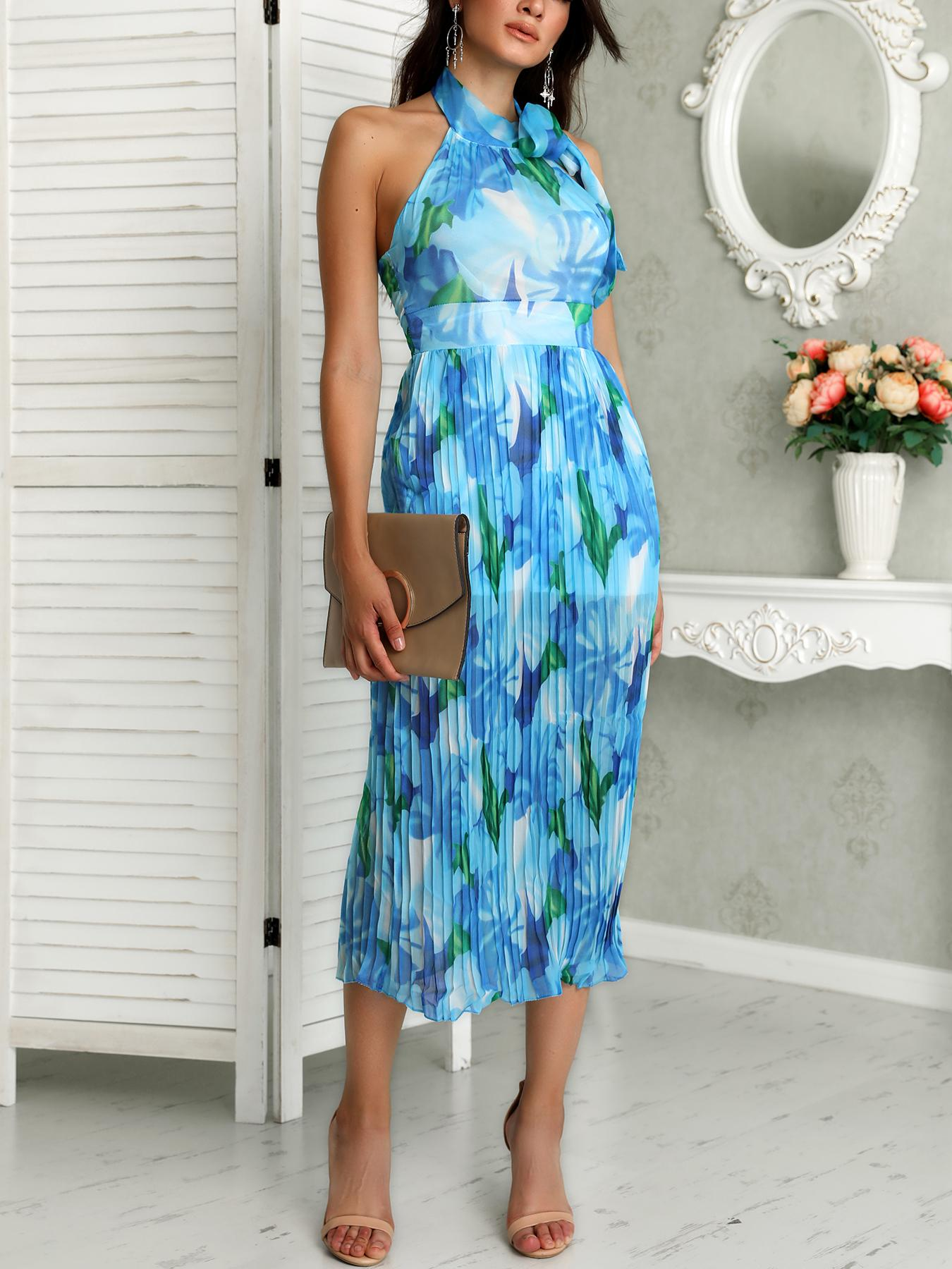 Floral Print Halter Backless Pleated Dress фото