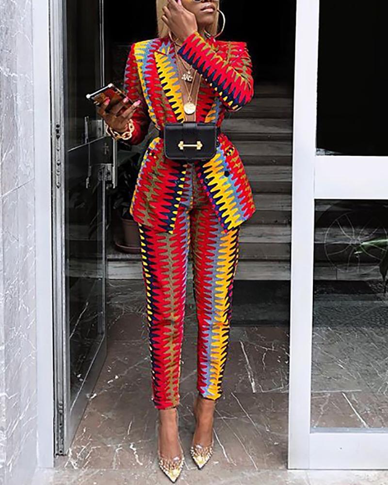 boutiquefeel / Gola entalhada Colorblock Blazer e calça conjuntos
