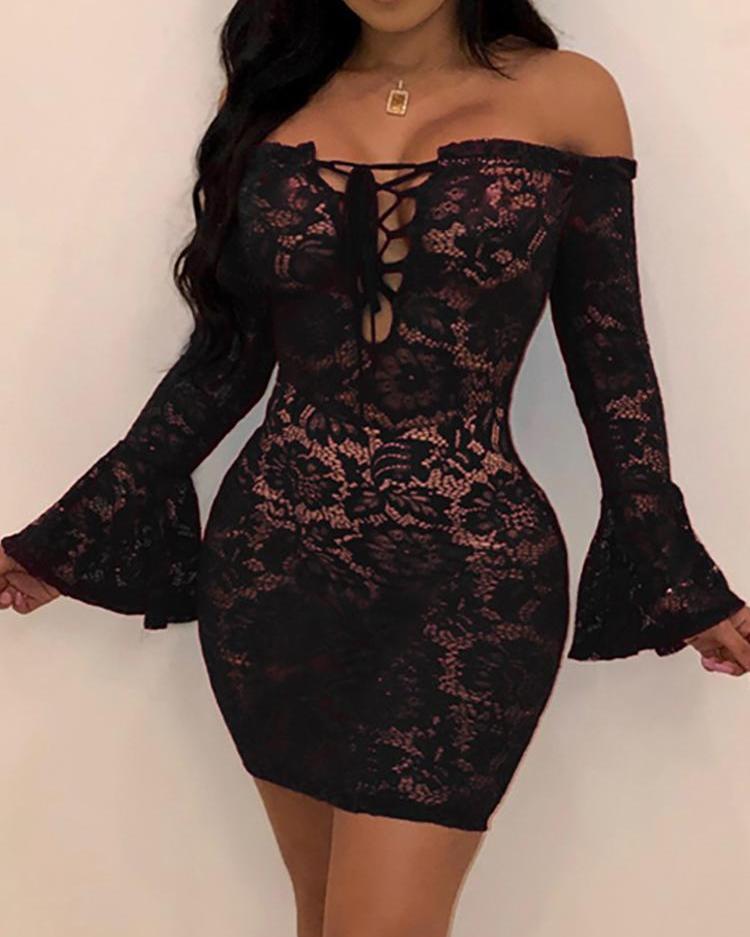 boutiquefeel / Vestido ajustado con manga campana de encaje fuera del hombro