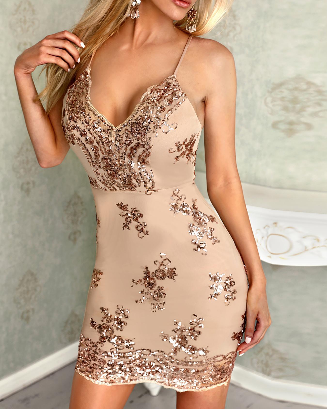 Deep V Sleeveless Bodycon Sequin Dress
