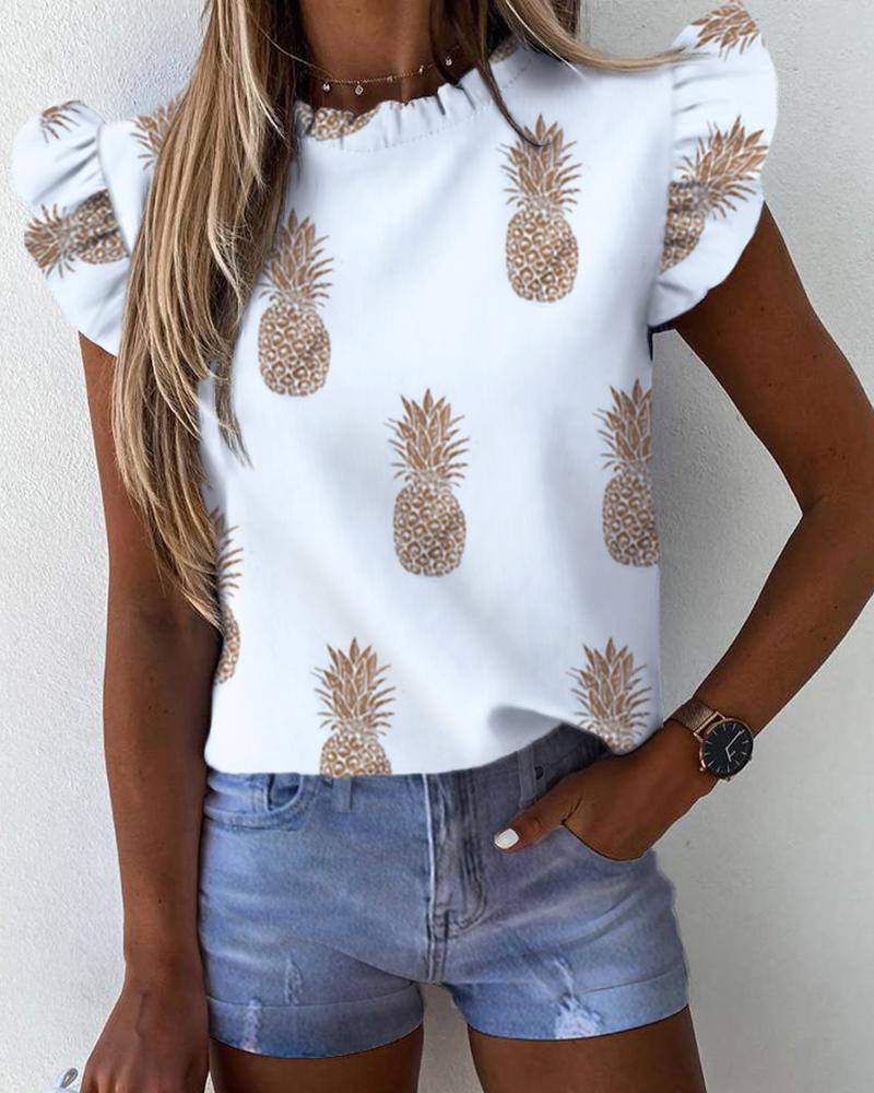 Pineapples Print Ruffles Casual Top фото