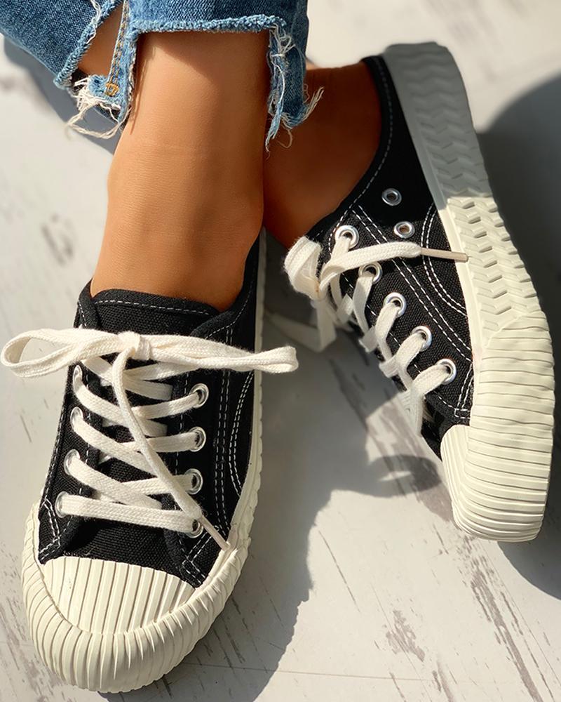 Eyelet Lace-Up Pattern Epadrille Sneakers, Black