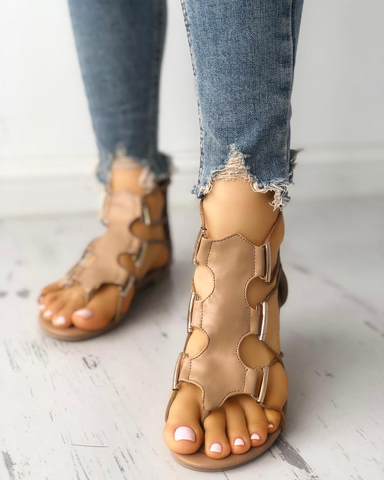 chicme / Hollow Out Toe Post Flat Gladiator Sandals