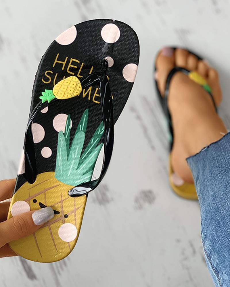 Pineapple Pattern Open Toe Flip Flops фото