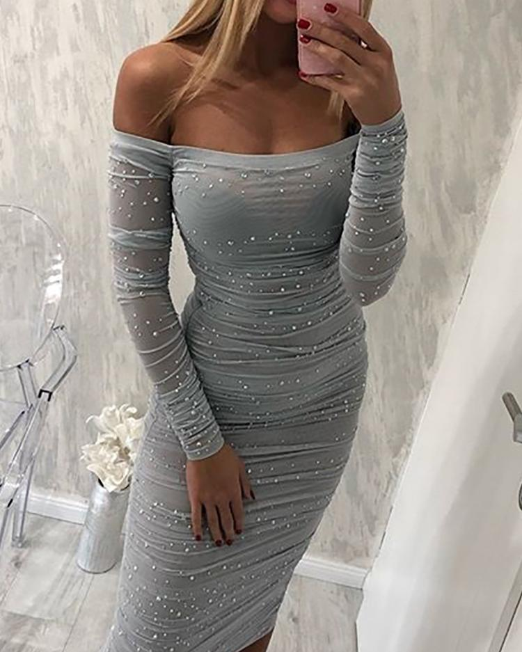 boutiquefeel / Beading Off Shoulder Ruched Bodycon Dress