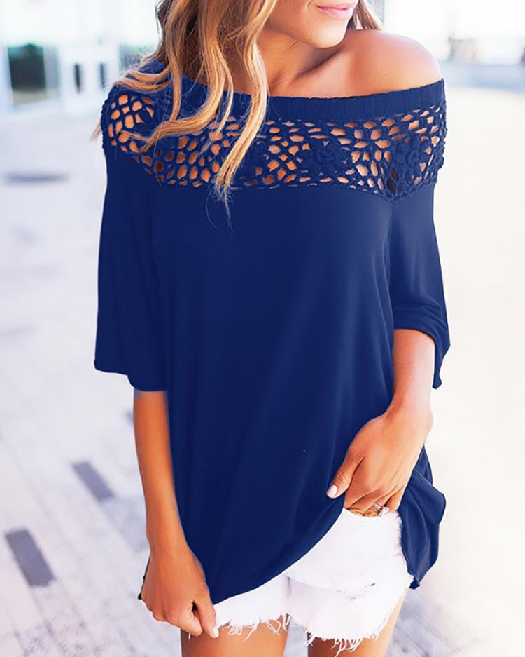 Trendy Solid Hollow Out Patchwork Casual Blouse - Blue