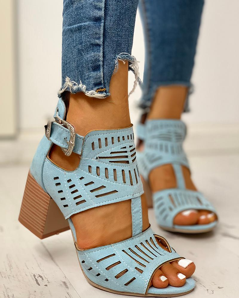 ivrose / Solid Hollow Out Chunky Sandals