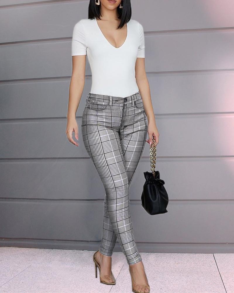 chicme / Grade cintura alta calça casual