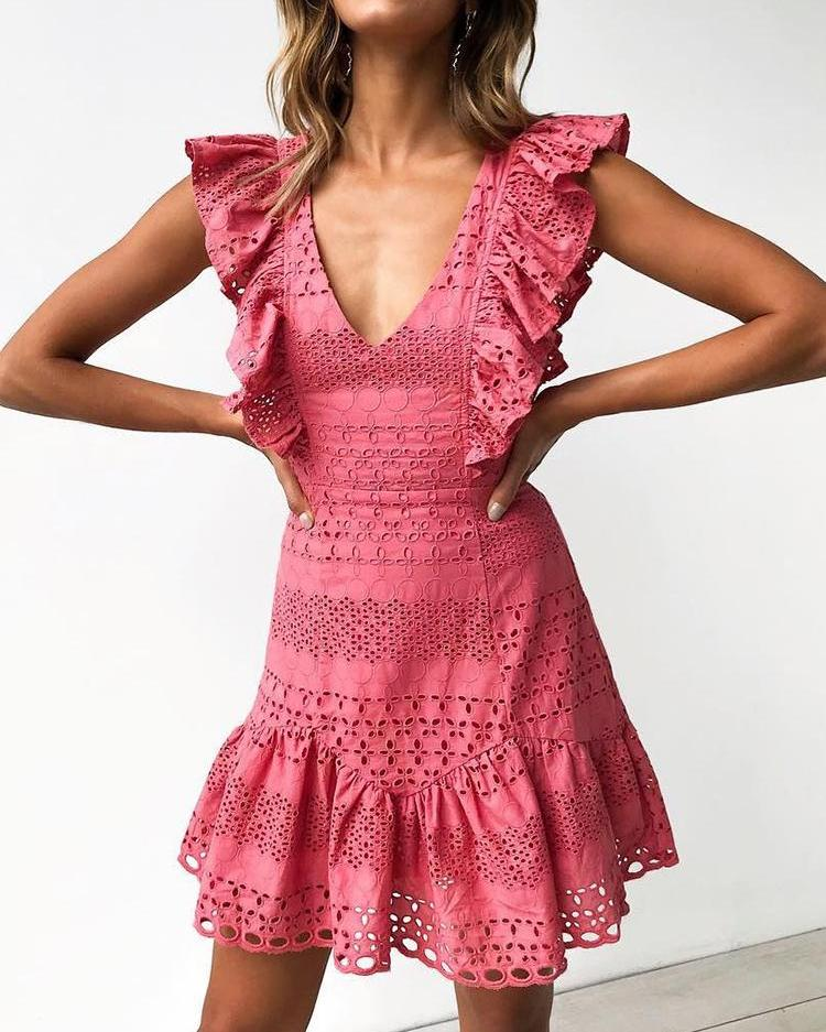 Hollow Out Trim Ruffles Solid Mini Dress