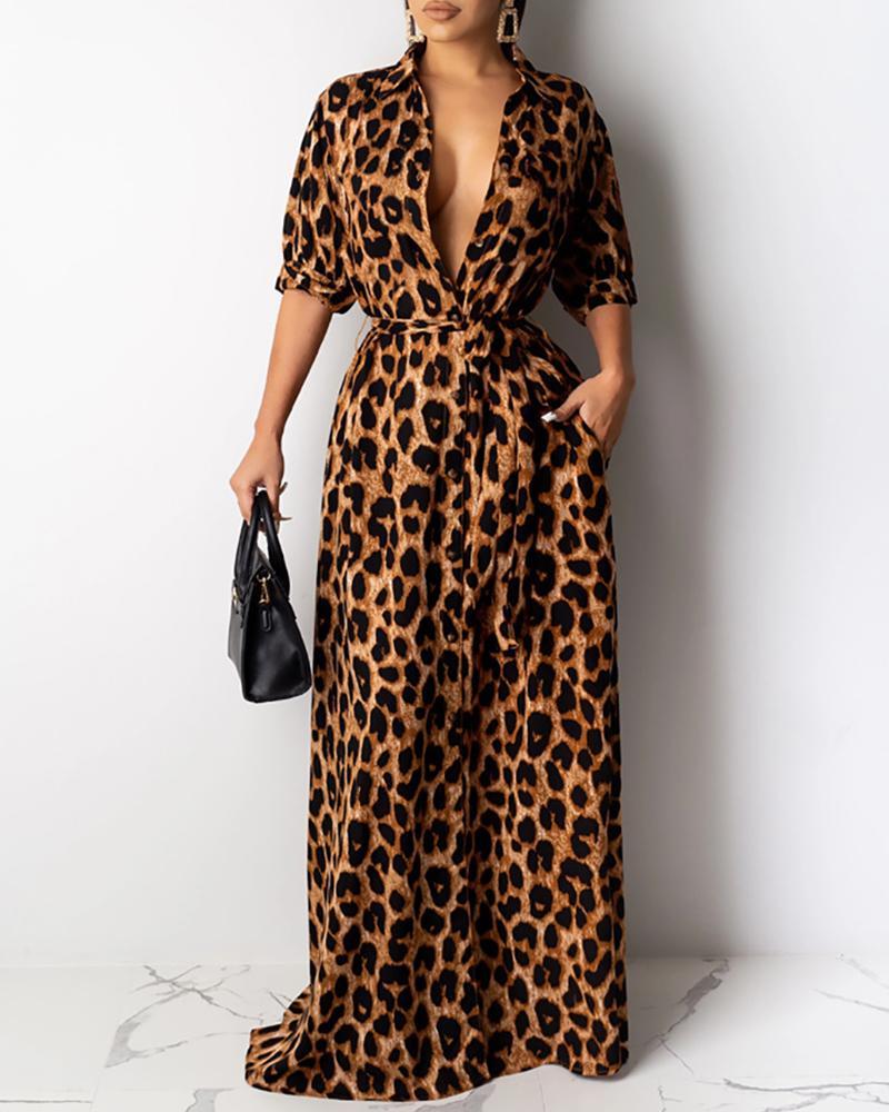 Plunge Half Sleeve Leopard Print Dress
