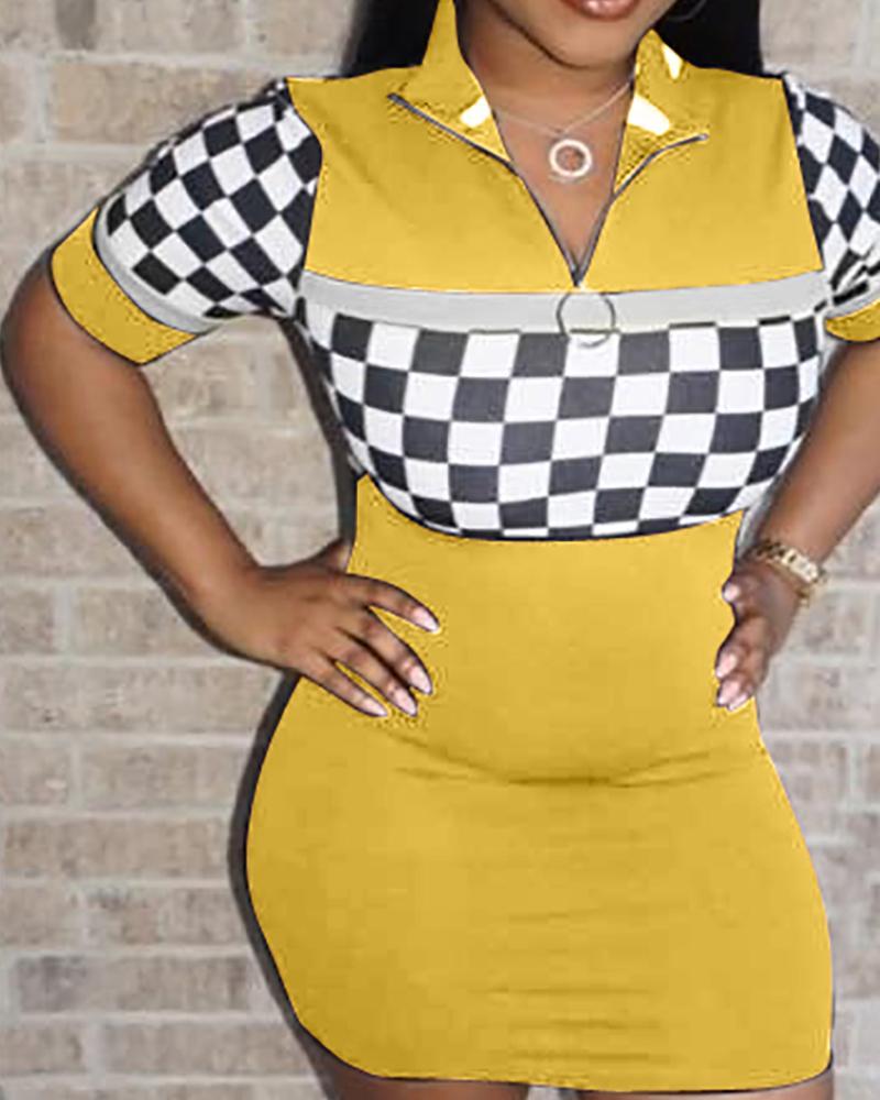 boutiquefeel / Vestido de bodycon xadrez alta pescoço