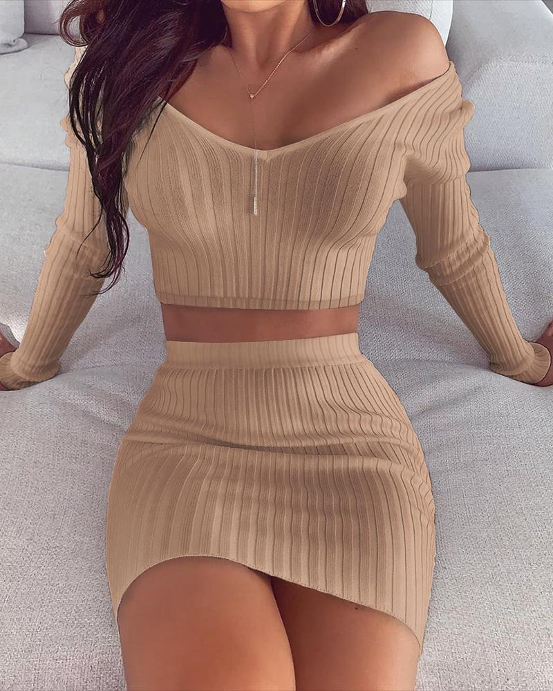 Solid Ribbed Crop Top & Skirt Sets фото