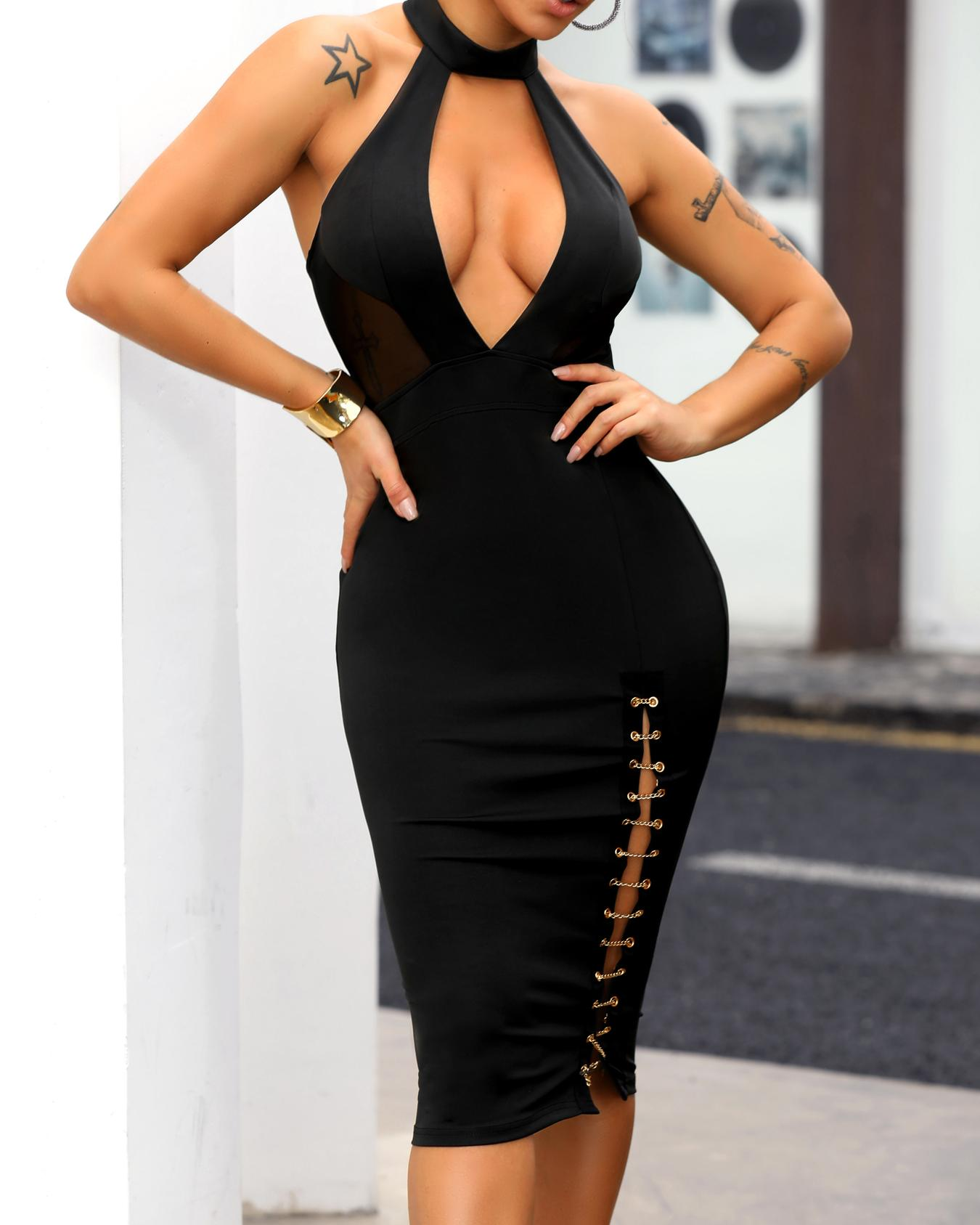 Halter Plunge Backless Chain Detail Dress фото