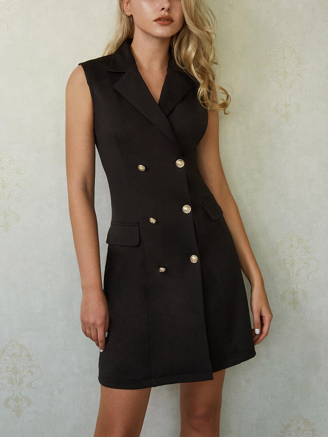 Double Breasted V Neck Sheath Blazer Dress
