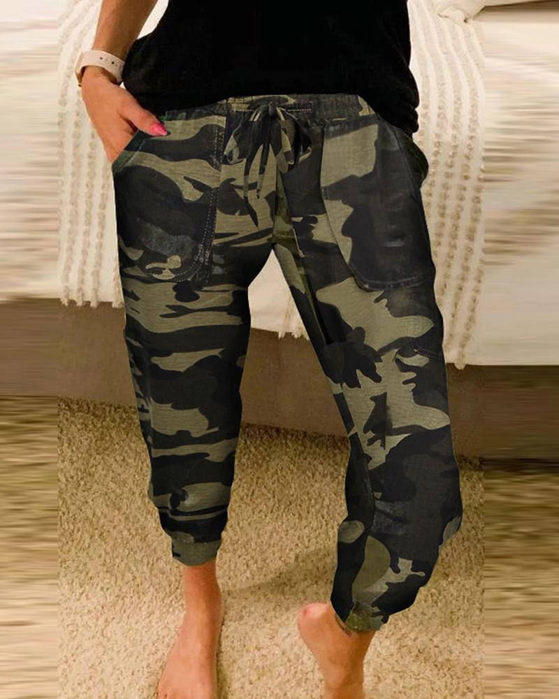Camouflage Print Pockets Design Drawstring Pants фото