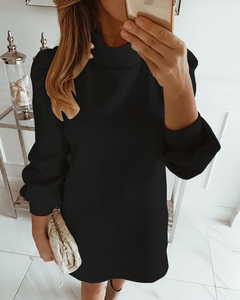 Solid High Neck Mini Dress, Black