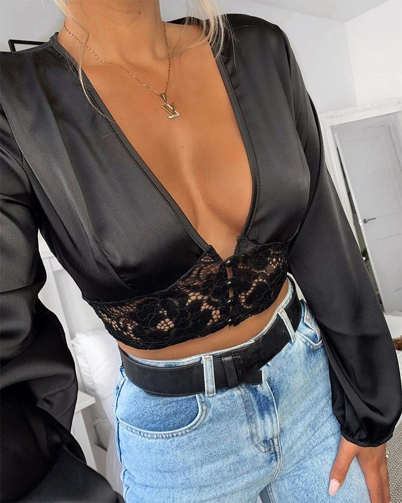 Deep V Lace Crop Top фото