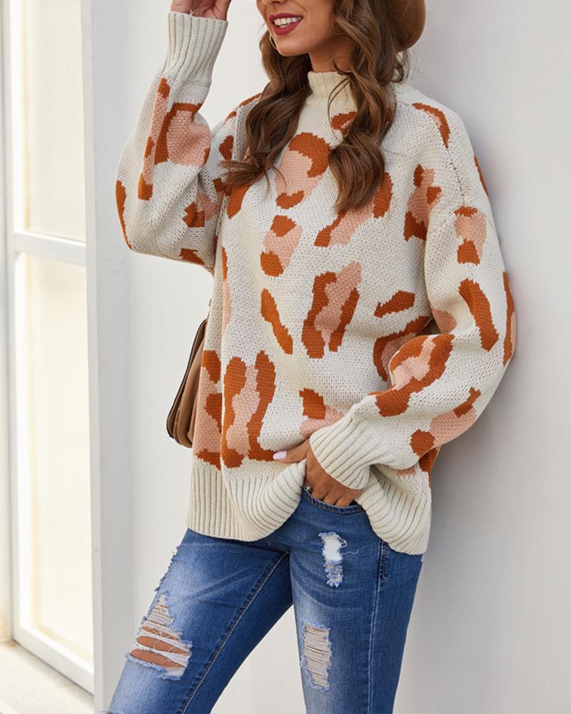 Cheetah Half High Neck Sweater фото