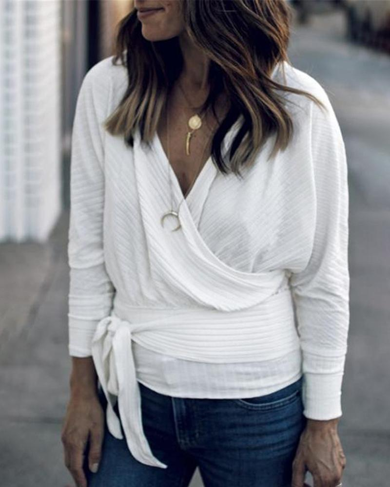 Deep V Long Sleeve Wrap Tie Side Top, White
