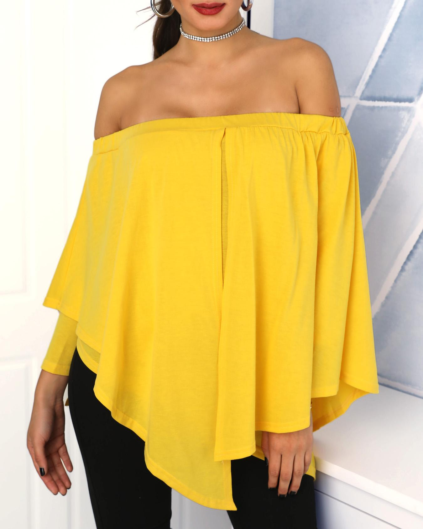 Asymmetric Stretchy Off Shoulder Oversized Top, Yellow