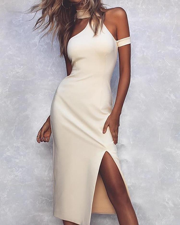 Halter Cold Shoulder Slit Bodycon Dress, Beige