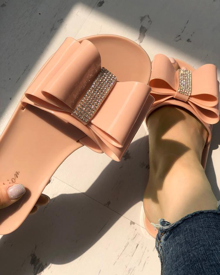 Glittering Bowknot Embellished Sandals