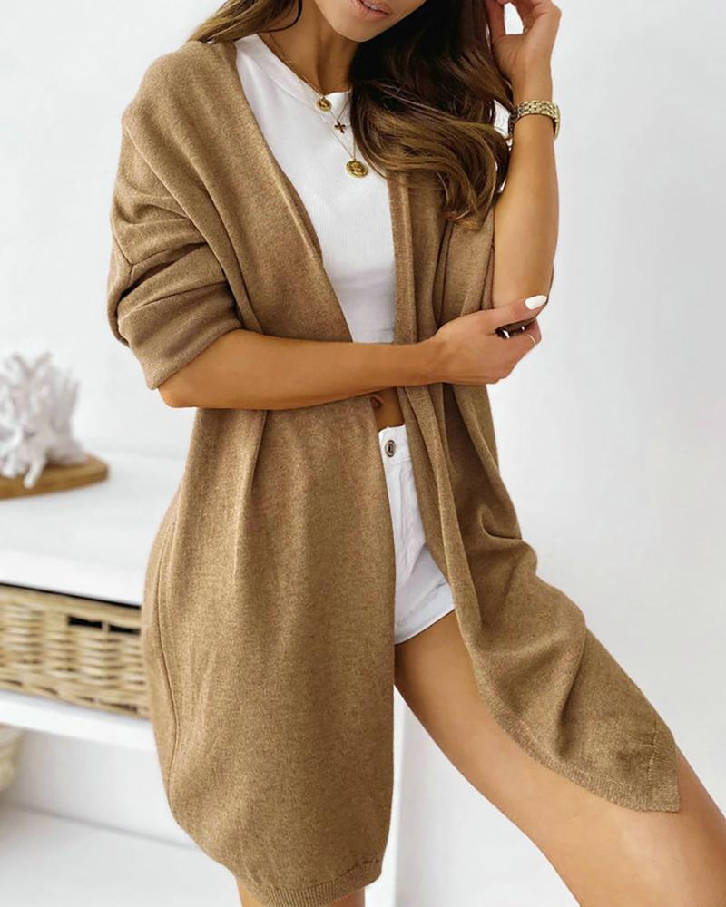 Solid Open Front Long Sleeve Cardigan фото