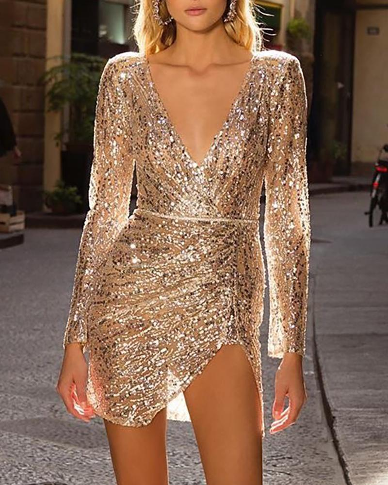 chicme / Plunge Slit Sequins Sparkly Party Dress