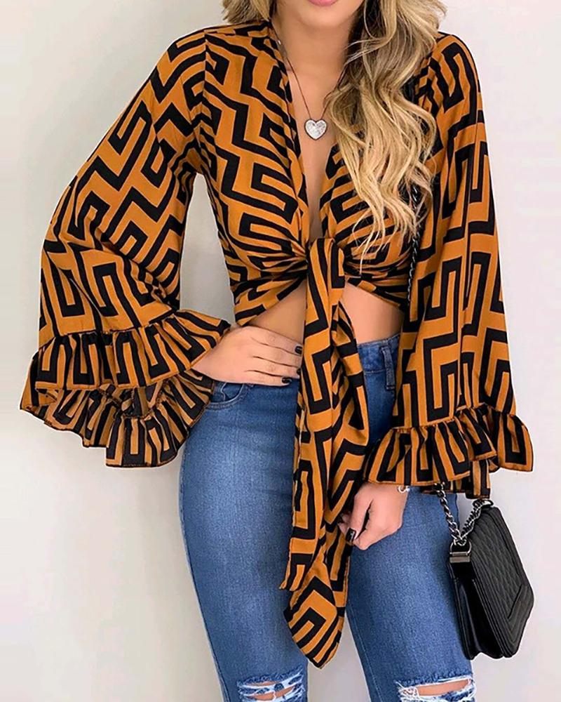 Grid Print Knotted Ruffles Bell Sleeve Blouse, Yellow