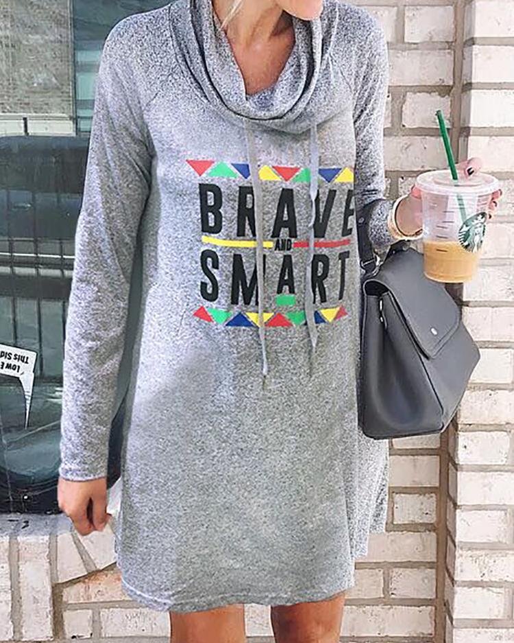boutiquefeel / Vestido informal con cuello alto y estampado de letras