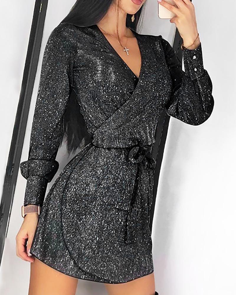 Glitter Long Sleeve Tied Waist Dress фото