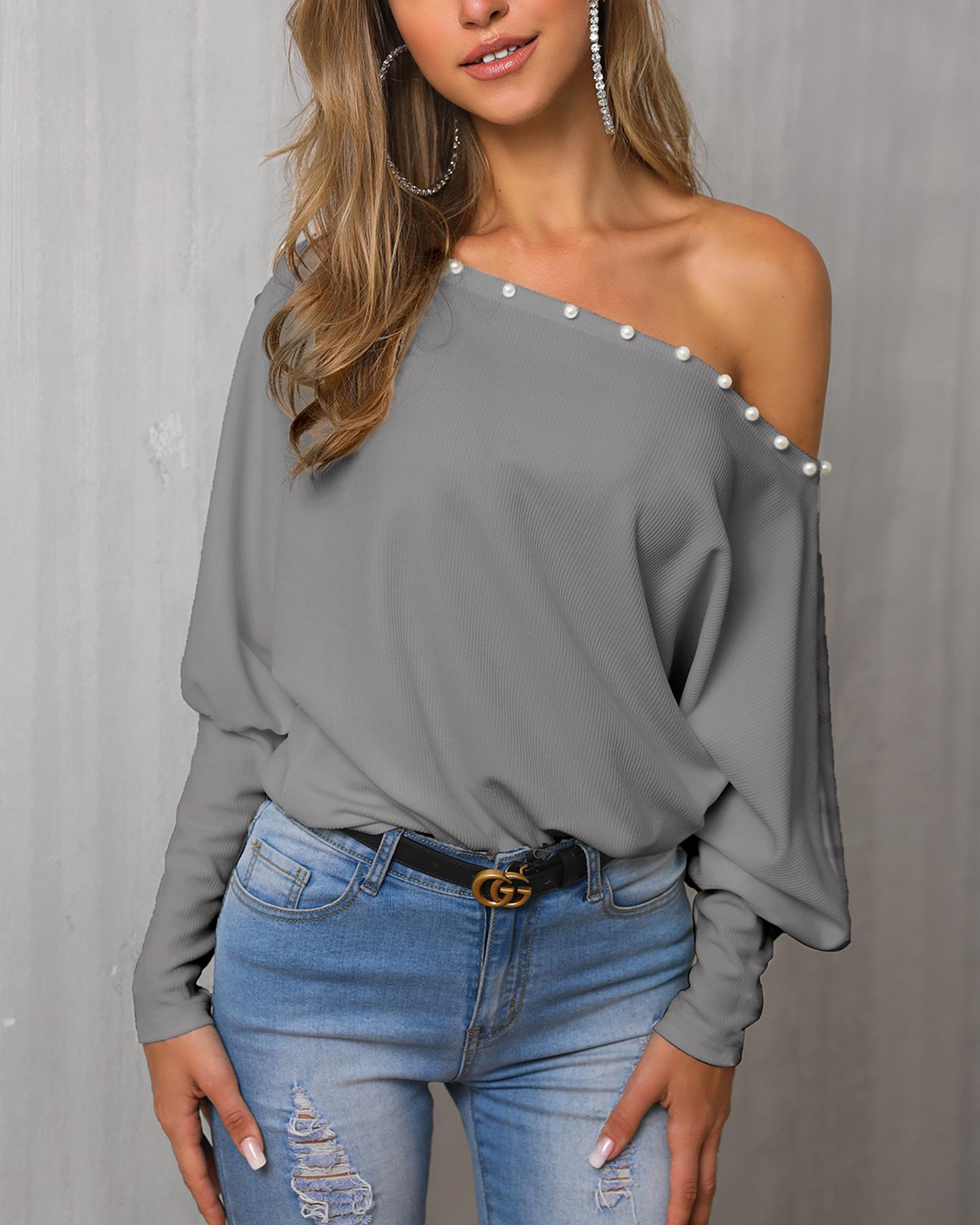 Solid Beaded One Shoulder Casual Blouse фото